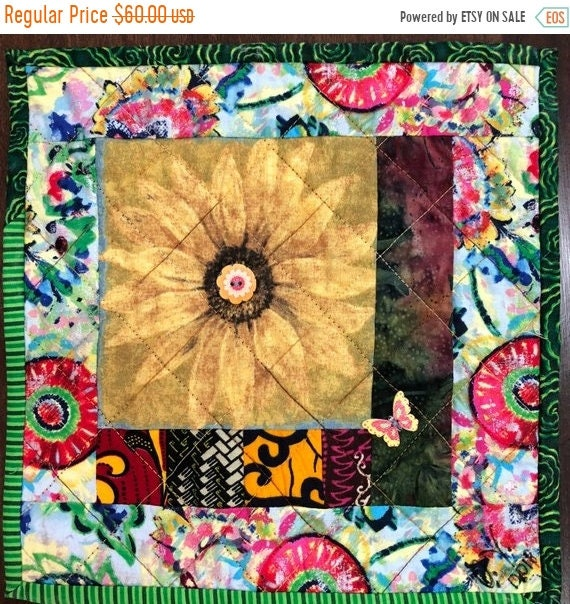 ON SALE Sassy Sunflowers in My Library #1 mini art quilt