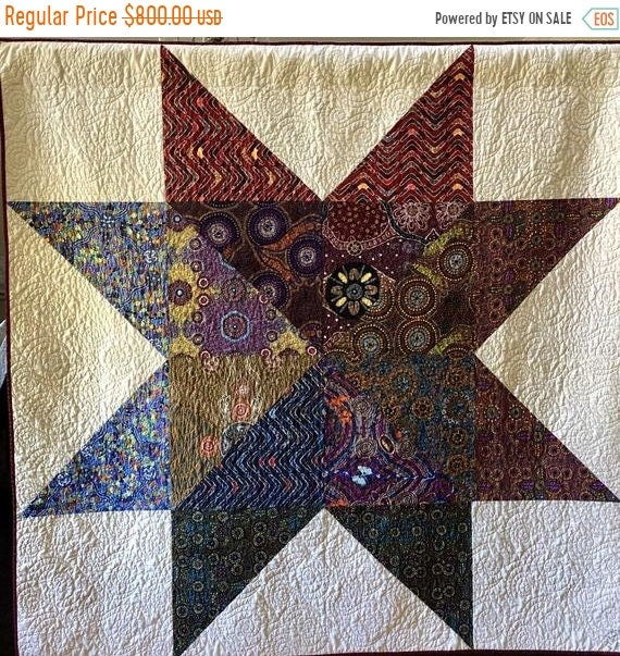 FALL SALE Dream Upon Your Adventurous Star 65x65 inch quilted wallhanging
