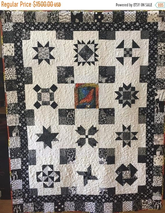 Holiday Sale Stand Out in the Crowd, 53x69 inch black and white traditional sampler quilt