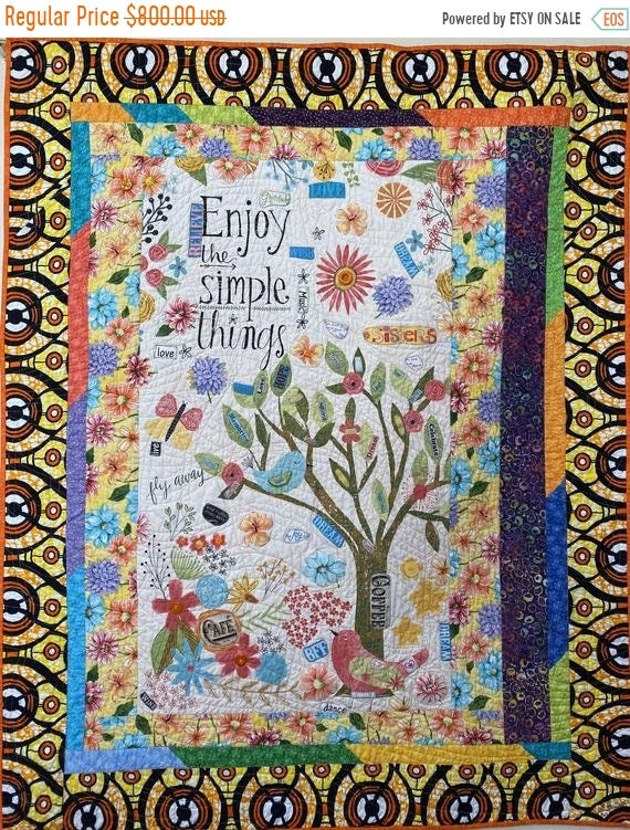 HOLIDAY SALE Live Loving the Simple Things, a 45x55 inch quilted embellished wallhanging