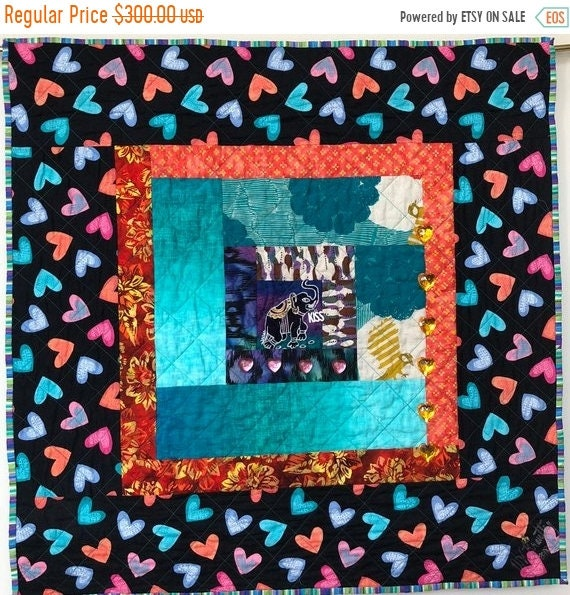 ON SALE Kissed By an Elephant #7 31x31 inch art quilt