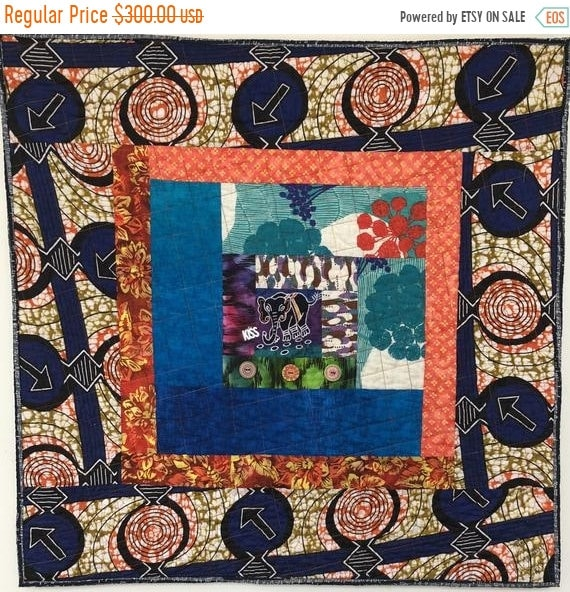 Juneteenth sale Kissed By an Elephant #6 31x31 inch art quilt