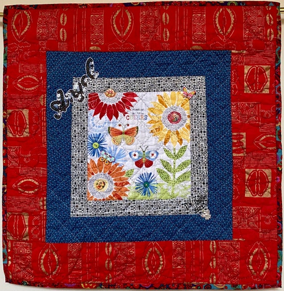 Whispers From My Angels #4 hand quilted art quilt