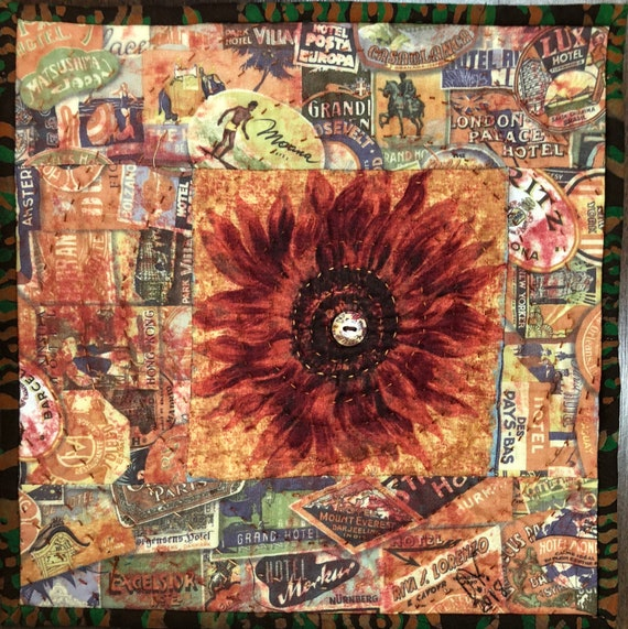 Sassy Sunflowers in My Library #2 10x10 inch mini art quilt