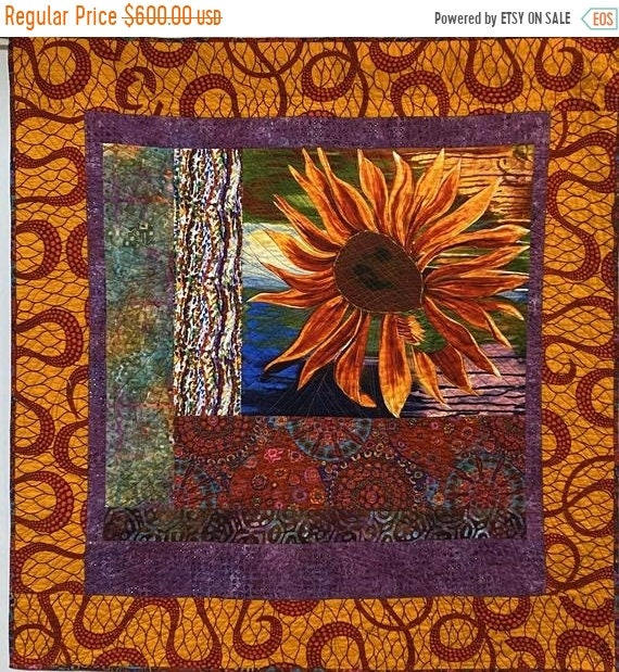 Juneteenth sale A Hint of Fall, 44x47 inch quilted wallhanging