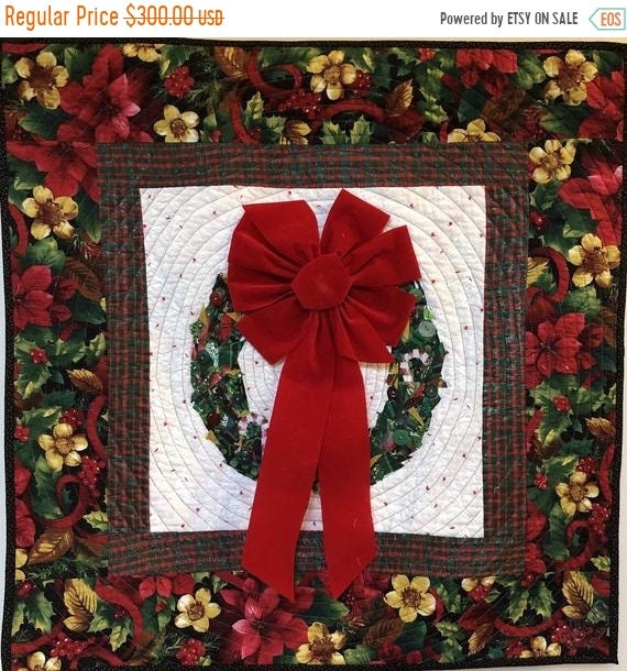 On Sale Welcome Wreath 29x29 inch quilted and embellished Christmas wreath