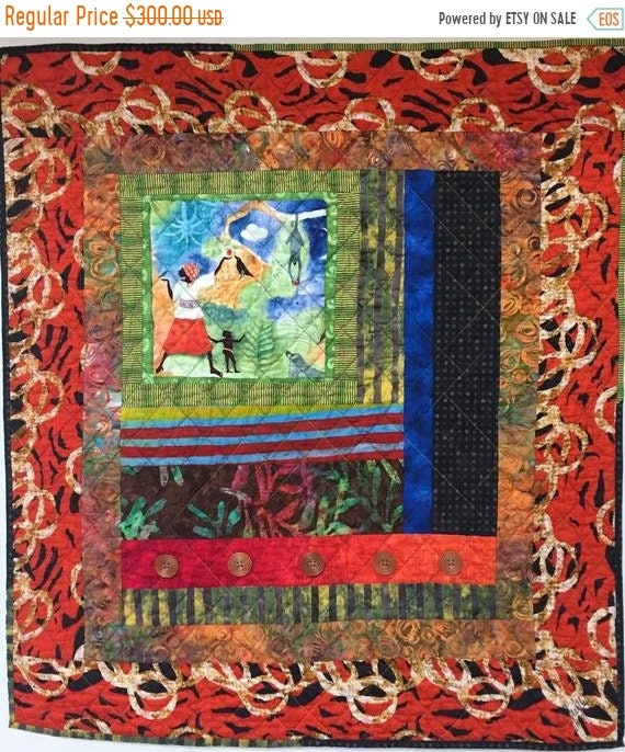 Holiday Sale Grateful For Another Happy Day #5 art quilt