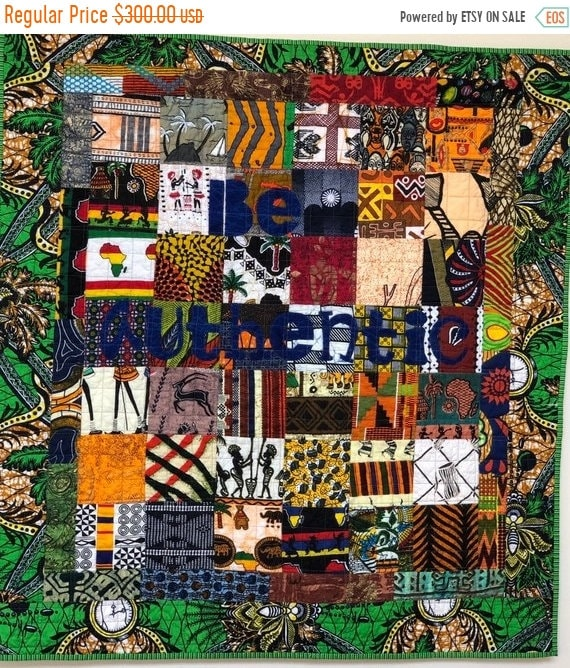 DISCOUNT Be Authentic, 35x38 inch African art quilt