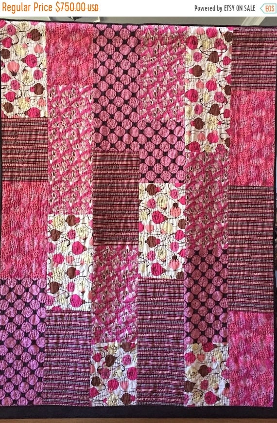 Fall sale Getting Stronger and Stronger, 52x70 inch breast cancer art quilt