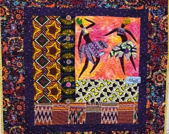 Be Happy, 28x28 inch hand quilted art quilt