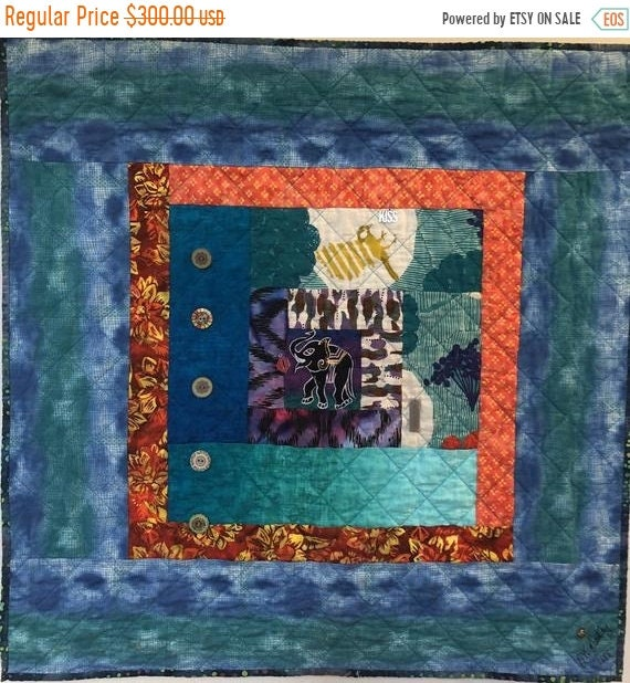 Holiday Sale Kissed By An Elephant #5 31x31 inch art quilt