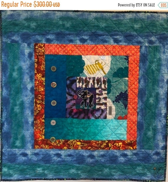 ON SALE Kissed By An Elephant #5 31x31 inch art quilt