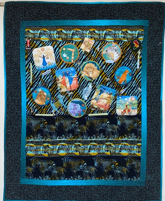 Living My Best Life on the Wild Side. 37x47 inch hand quilted art quilt