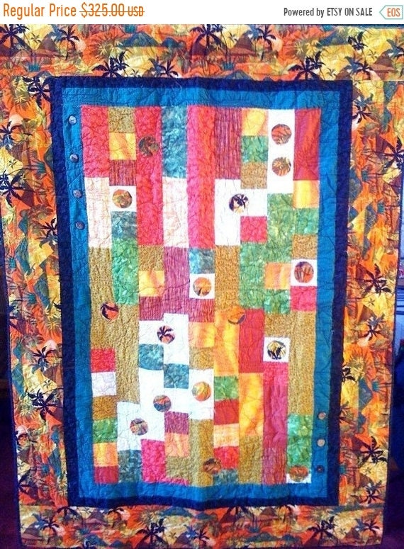 Holiday Sale Fall in Love With Island Life, 46 x 64 quilted wallhanging