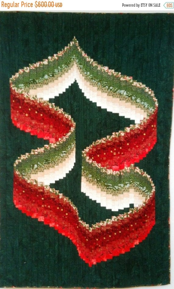 ON SALE Christmas Ribbons art quilt wallhanging