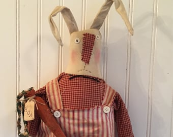 Primitive Easter Bunny Folk Art Spring Rabbit Roscoe with a Carrot