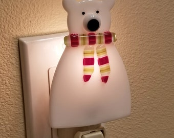 Glassworks Northwest - Polar Bear with a Scarf Night Light - Fused Glass Art Night Light, Made in the USA Art Glass, Handmade Glass