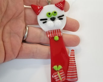 Glassworks Northwest - Red and White Christmas Cat - Fused Glass Ornament, Cat Ornament, Cat's First Christmas, Cat Lover Gift, Collector