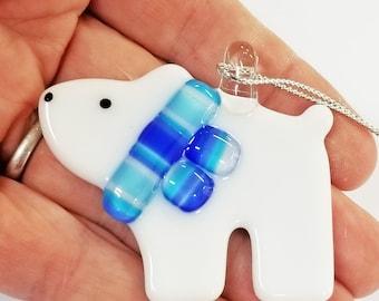 Glassworks Northwest - Bear Cub Polar Bear Blue Scarf - Fused Glass Ornament, First Christmas, Baby Bear, Keepsake Ornament, Collector