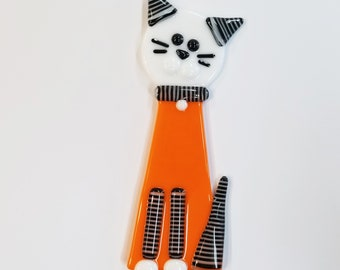 Glassworks Northwest - Orange Cat Plant Stake Black and White Stripes - Fused Glass Garden Art, Cat Lover Gift, Yard Art, Halloween Cat