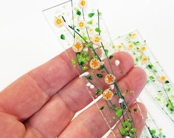 Glassworks Northwest - Plant Stake Spike 7.5 inch - Millefiori Wildflowers Orange Fused Glass Garden Art, Outdoor Decor, Planter Decoration