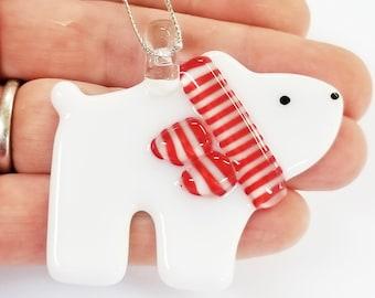Glassworks Northwest - Bear Cub Polar Bear Red and White Scarf - Fused Glass Ornament, First Christmas, Baby Bear, Keepsake Ornament