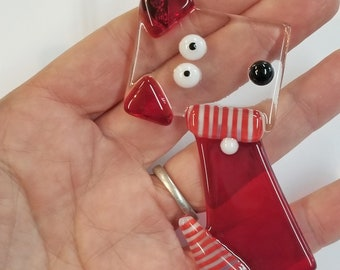 Glassworks Northwest - Christmas Dog - Fused Glass Ornament, Dog Lover Gift, Dog's First Christmas, Doodle, Fox Terrier, Square Head
