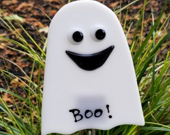 Glassworks Northwest White Ghost Plant Stake, Boo!, Fused Glass Garden Art, Halloween Decoration, Collectable Art Glass, Made in USA
