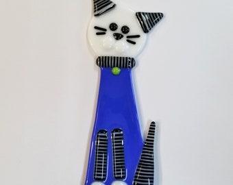 Glassworks Northwest - Blue Cat Plant Stake Black and White Stripes - Fused Glass Garden Art, Cat Lover Gift, Yard Art, Cat Decoration