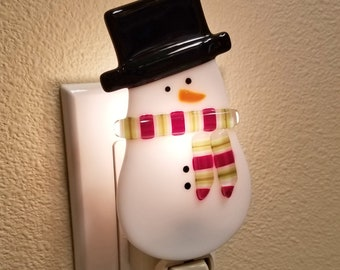 Glassworks Northwest - Snowman with a Scarf Night Light - Fused Glass Art Night Light, Made in the USA Art Glass, Handmade Glass