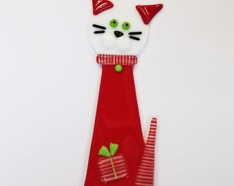 Glassworks Northwest - Christmas Cat Plant Stake Red and White - Fused Glass Garden Art, Cat Lover Gift, Yard Art, Christmas Decoration