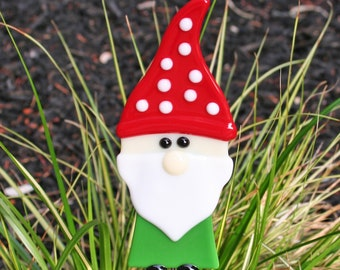 Glassworks Northwest - HOLLY Lucky Christmas Garden Gnome Plant Stake - Fused Glass Garden Art, Lawn Gnome, Gnome Lover's Gift, Nisse