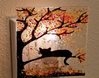 Glassworks Northwest - Cat in an Autumn Tree Night Light - Fused Glass Art Night Light, Made in the USA Art Glass, Halloween Night Light