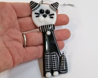 Glassworks Northwest - Black and White Striped Cat - Fused Glass Ornament, Cat Ornament, Cat's First Christmas, Cat Lover Gift, Tuxedo Cat