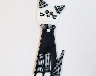 Glassworks Northwest - Black Cat Plant Stake Black and White Stripes - Fused Glass Garden Art, Cat Lover Gift, Yard Art, Cat Decoration