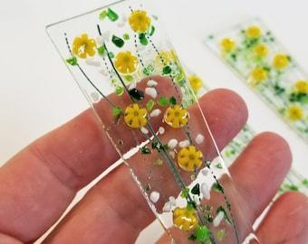 Glassworks Northwest - Plant Stake Spike 7.5 inch - Millefiori Wildflowers Yellow Fused Glass Garden Art, Outdoor Decor, Planter Decoration