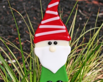 Glassworks Northwest - JOLLY Lucky Christmas Garden Gnome Plant Stake - Fused Glass Garden Art, Lawn Gnome, Gnome Lover's Gift, Nisse