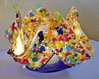 Glassworks Northwest - Votive Super Fantastic Blue - Fused Glass Candleholder, Tealight Holder, Romantic Gift, Fun Candle, Rainbow