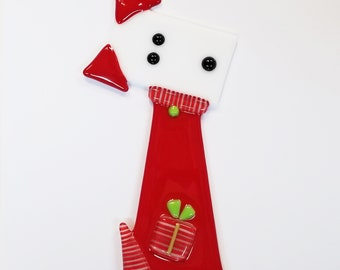 Glassworks Northwest - Christmas Dog Plant Stake Red and White - Fused Glass Garden Art, Dog Lover Gift, Yard Art, Christmas Decoration