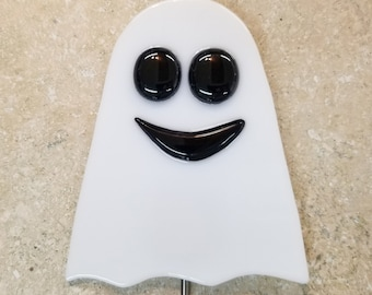Glassworks Northwest One-of-a-kind White Ghost Plant Stake, Fused Glass Garden Art, Halloween Decoration, Collectable Art Glass, Made in USA