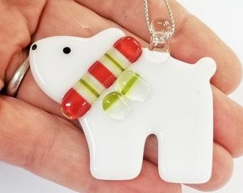 Glassworks Northwest - Bear Cub Polar Bear Red, White and Green Scarf - Fused Glass Ornament, First Christmas, Baby Bear, Keepsake Ornament