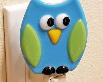 Glassworks Northwest - Blue Night Owl Night Light - Fused Glass Art Night Light, Made in the USA Art Glass, Handmade Glass