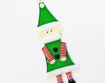 Glassworks Northwest - Christmas Elf - Fused Glass Ornament, Ornament Exchange, Keepsake, First Christmas, Holiday Elf, Santa's Helper