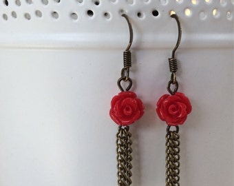 Red Rose and Brass Tassel Rarrings