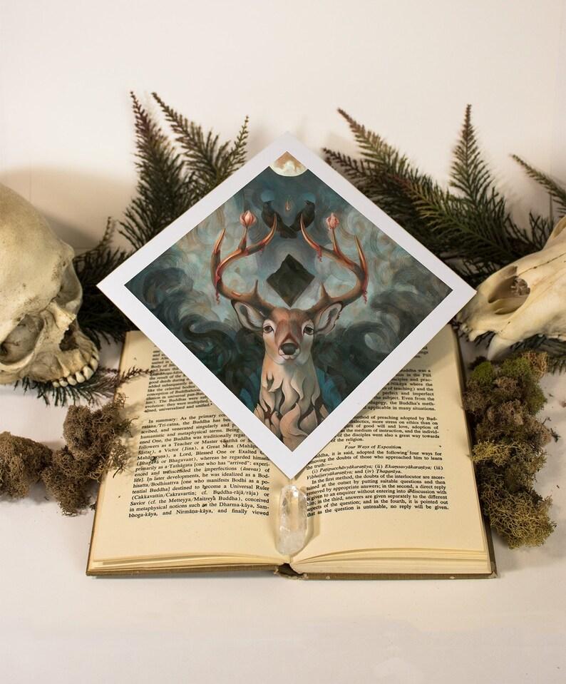 SALE! Golden Teacher Surreal Psychedelic Deer Mount Raven PRINT