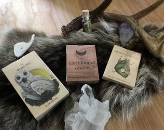 Skullgarden Divination Deck Trilogy: The Wooden Tarot, The Earthbound Oracle, and The Seeker's Lenormand