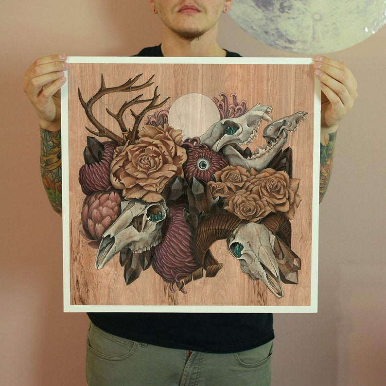 Skull Garden 18x18 Fine Art Giclee Print