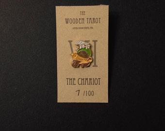 SALE The Chariot limited edition WOODEN TAROT enamel pin