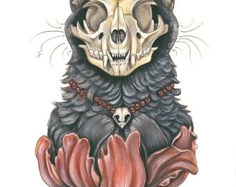 Ruby Cat Skull PRINT