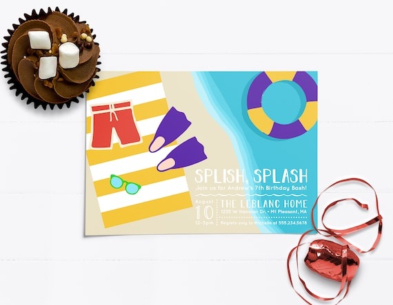 Boy Summer Pool Party Invitations Swimming Birthday